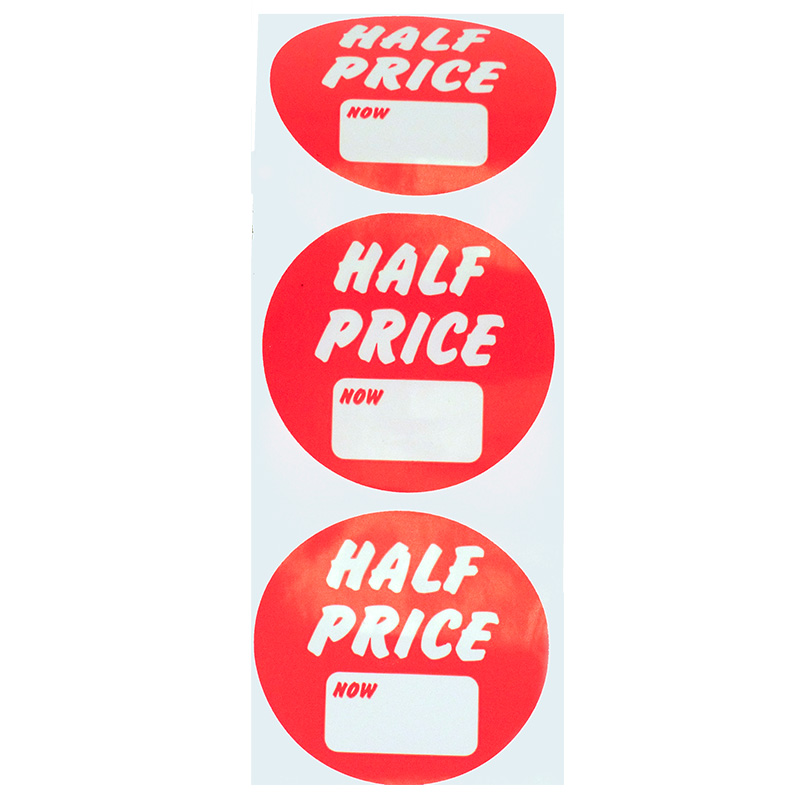 O/D Synthetic Discount Label 'Half Price' with 'now' price box Roll of 500 -Changed Product Code -was DL8A (500)