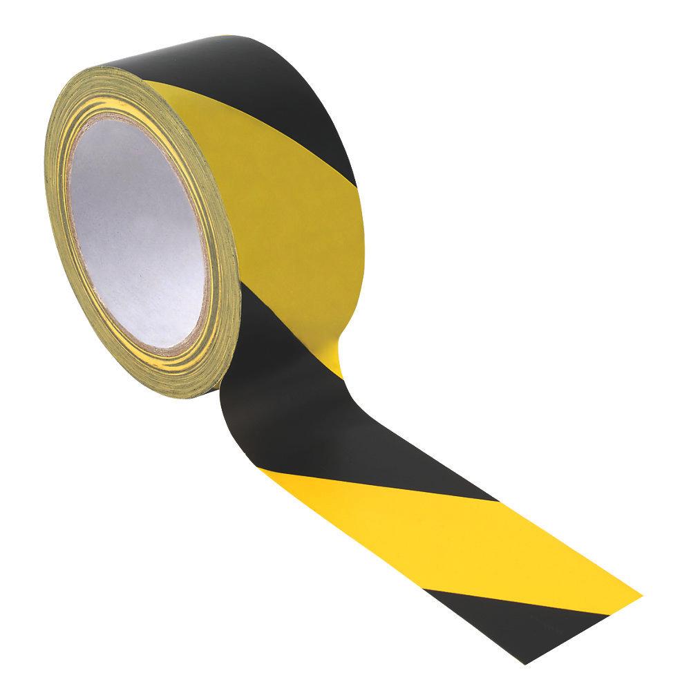 50mmx33m Black/Yellow Hazard Warning Tape - Roll