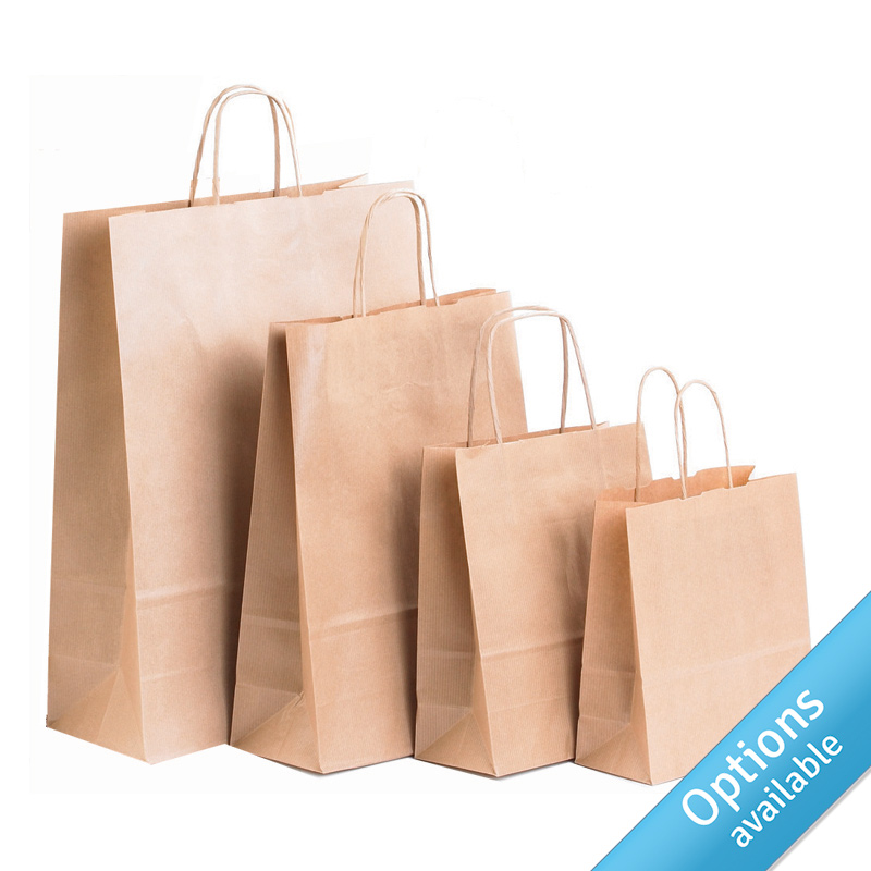 Brown Kraft Twisted Paper Handle Carriers