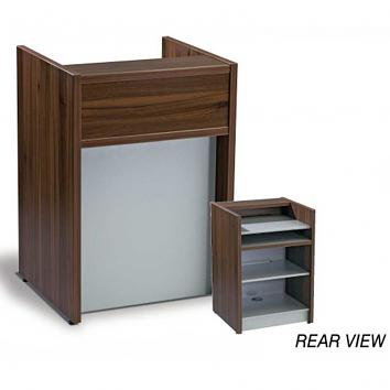 Recessed Till Unit With Adjustable Shelf Walnut / Silver