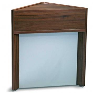 90° Walnut Solid Corner With Silver Recessed Front Panel