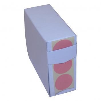 19mm Round Plain Pink Paper Labels in a Dispenser Box