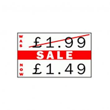 "CT7 26x16mm White Price Gun Labels Printed Red ""Sale"""