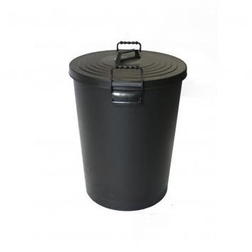 80 Litre Black Plastic Dustbin + Lid
