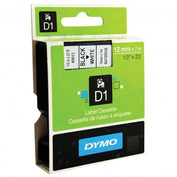 12mm Black On White Dymo Tape