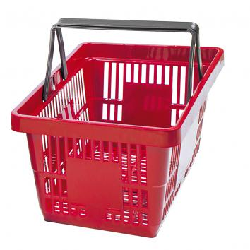2 Handled Plastic 22 litre Shopping Basket - Red