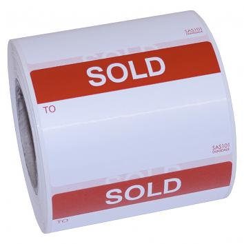 "SAS101  75x50mm Indoor / Outdoor ""SOLD"" Labels - Peelable - Roll of 500"