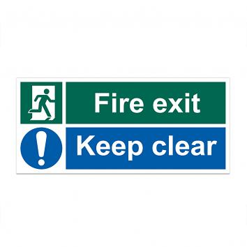 Safety Sign -  Fire Exit  Keep Clear 150 x 300 S/A