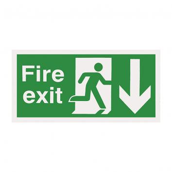 Safety Sign -  Fire Exit  Down 150 x 450 Rigid