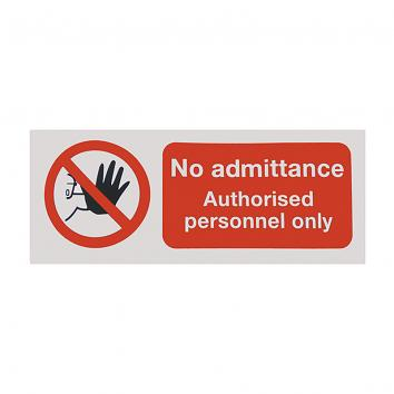 Safety Sign -No Admittance Authorised Personnel Only - 100x250 Self Adhesive