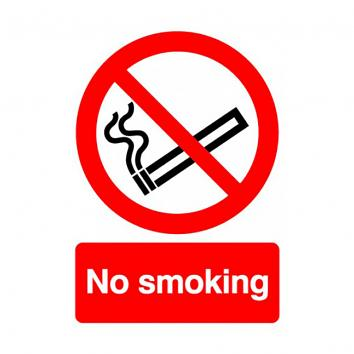 Safety Sign - No Smoking  A4  Rigid PVC