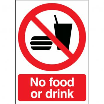 210x148mm No Food Or Drink S/A Sign