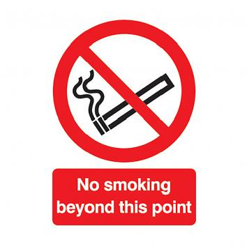 Safety Sign - No Smoking  Beyond This Point 297 x 210  Rigid PVC