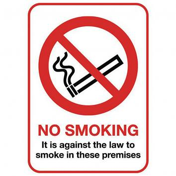 210x148mm (A5) No Smoking Self-Adhesive Sign