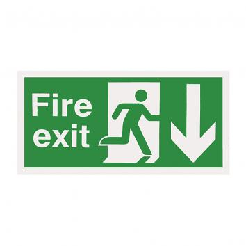 150x300mm Fire Exit Running Man Arrow Down Self Adhesive