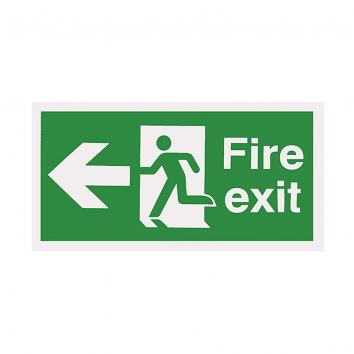 150x300mm Fire Exit Running Man Arrow Left Self Adhesive