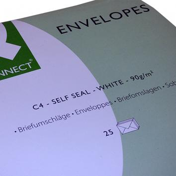 C4 Self Seal White Pocket Envelopes - 1x25