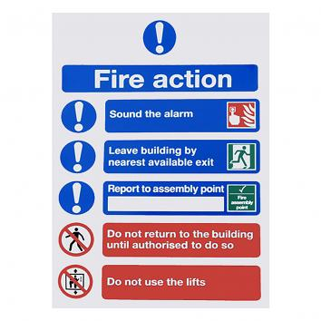 200x150mm Fire Action Notice S/A Sign