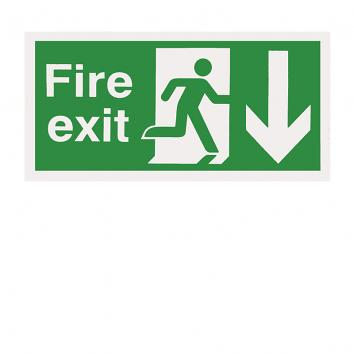 150x300mm Fire Exit Running Man Arrow Up Self Adhesive