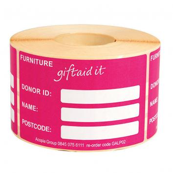 63.5x101.5 Pink Gift Aid Labels - Furniture (Peel Adhesive)