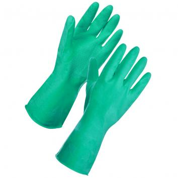 Green Medium Rubber Gloves - one pair