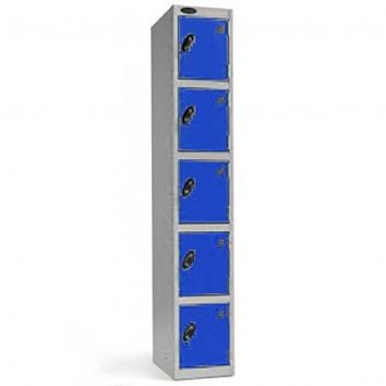 305x305x1780mm Locker - 5 Door Grey/Blue