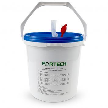 Fortech 20x20cm Sanitising Wet Wipes in Dispenser Bucket 70% Alcohol