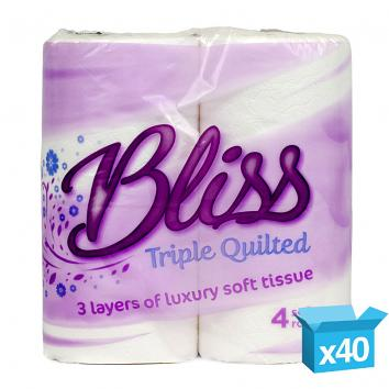3ply white Bliss Triple Quilted luxury toilet rolls 150 SHEETS per roll
