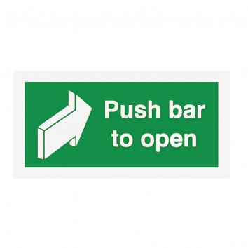 Safety Sign - Push Bar to Open 200x400  S/A