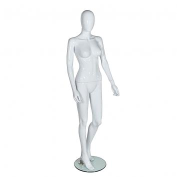 R307 Egghead Gloss White Plastic Female Mannequin With Glass Base