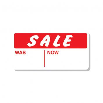 CT10 29x28mm White Pricing Labels Printed Sale Was/Now in Red, permanent adhesive
