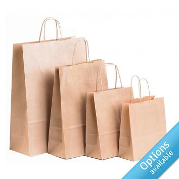 Brown Kraft Twisted Paper Handle Carriers
