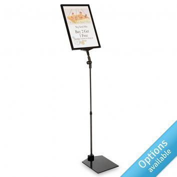 Telescopic Sign Holder for Laminated Signs with Weighted Plastic Base