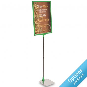 Telescopic Sign Holder for Laminated Signs With Stainless Steel Base