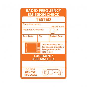 50.8x76.2mm White PP Microwave PAT Testing Labels, WEL, Perm., ON A ROLL, Printed 1 Colour- Orange (200)