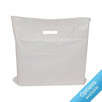 White Economy Patch LD Carrier Bags