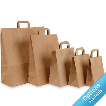 Paper Tape Handle Carriers - Brown