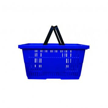 2 handled 30 litre plastic Shopping Basket -  Blue