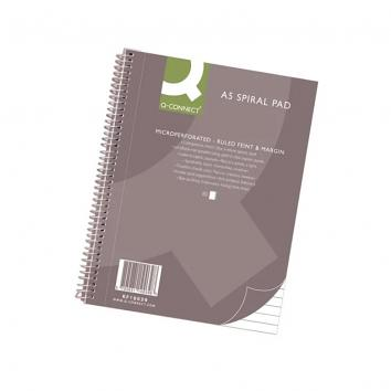 Q-Connect Ruled Margin Spiral Soft Cover Notebook 160 Pages A5 (Pack of 5)