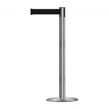 Single Stainless Steel Retractable Barrier Post - 1.5m Black