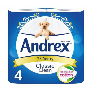 Andrex Classic Clean Toilet Roll - Pk/4