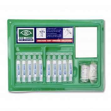 Small Emergency Eyewash Station 8x20ml Eyepods + 2 x Eyepads
