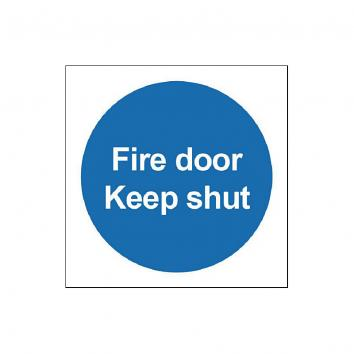 Safety Sign - Fire Door Keep Shut   100 x 100 - PVC