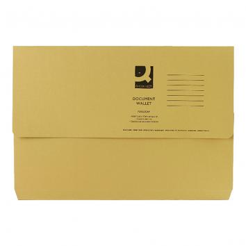 Q-Connect Yellow Foolscap Document Wallet - Pack of 50