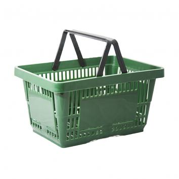 2 handled 28 litre plastic Shopping Basket -  Green