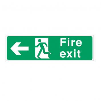 Safety Sign - Fire Exit Left 150x450mm S/A