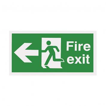 Safety Sign -  Fire Exit Arrow Left  150 x 450 Rigid