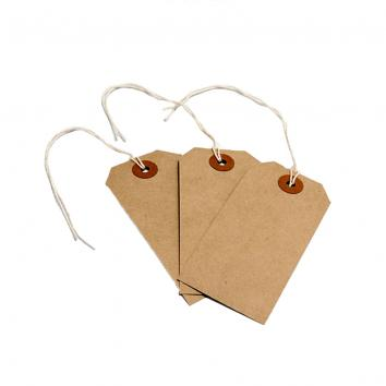 Size 4 (108x54mm) Strung Recycled Brown Luggage Tags - 225gsm (1000)