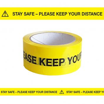 48mmx33m Black/ Yellow Purasan PPE™ Safe Distance Indoor Tape