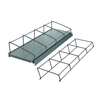 625x200mm 4-Section Media Rack Silver For Grooved Shelf